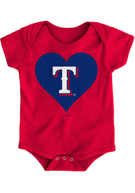 Texas Rangers Baby Red Heart One Piece