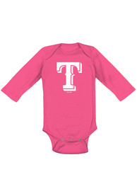 Texas Rangers Baby Pink Secondary LS One Piece