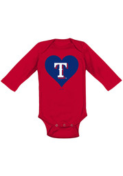 Texas Rangers Baby Red Heart LS One Piece