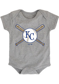 Kansas City Royals Baby Grey Crossed Bats One Piece