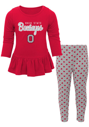 Ohio State Buckeyes Toddler Girls Red Tiny Trainer Top and Bottom