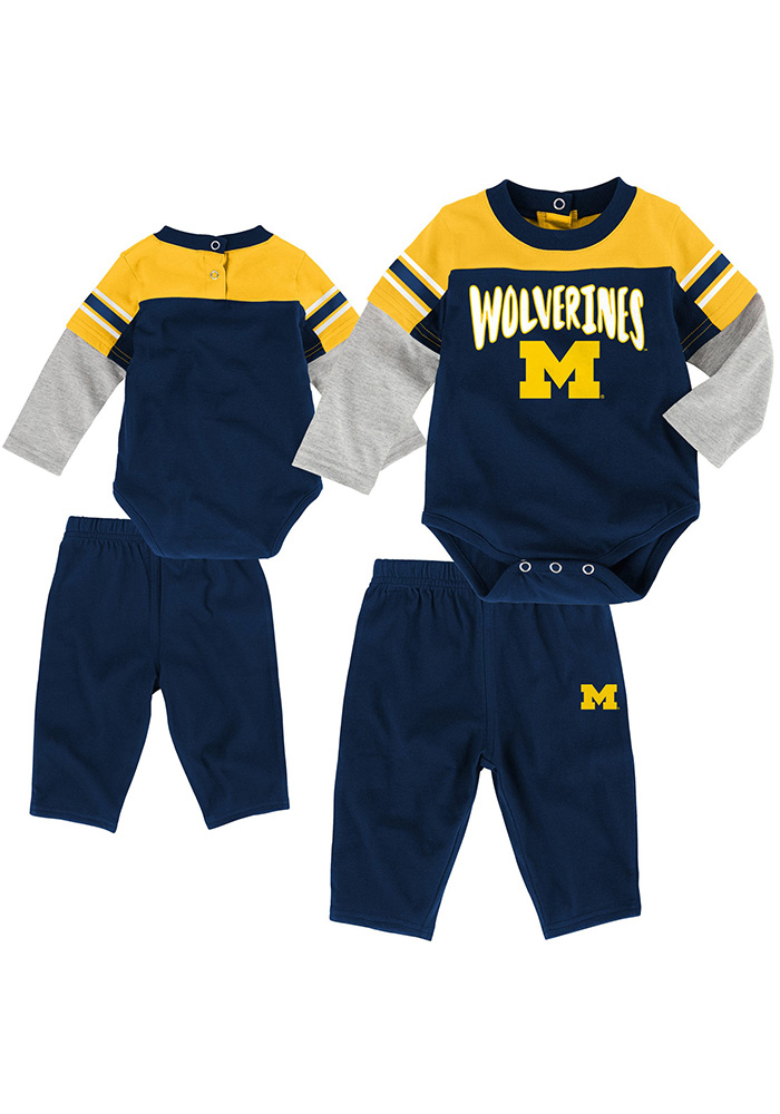 Michigan Wolverines Infant Navy Blue Halfback Top and Bottom 183b57fe2e29