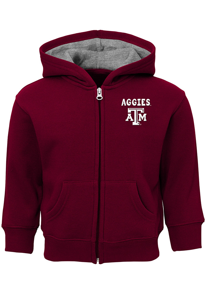 Texas A&M Aggies Toddler Red Zone Long Sleeve Full Zip Sweatshirt - Maroon - Image 1