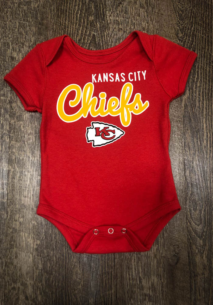 Kansas City Chiefs Baby Red Big Game Short Sleeve One Piece - Image 2