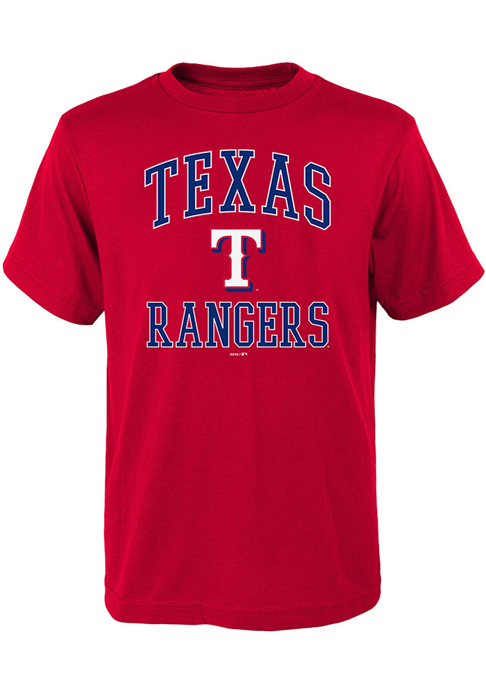 Texas Rangers Youth Red #1 Design Short Sleeve T-Shirt - Image 1