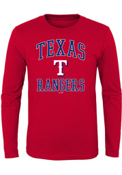 Texas Rangers Youth Red #1 Design T-Shirt