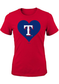 Texas Rangers Girls Red Heart T-Shirt