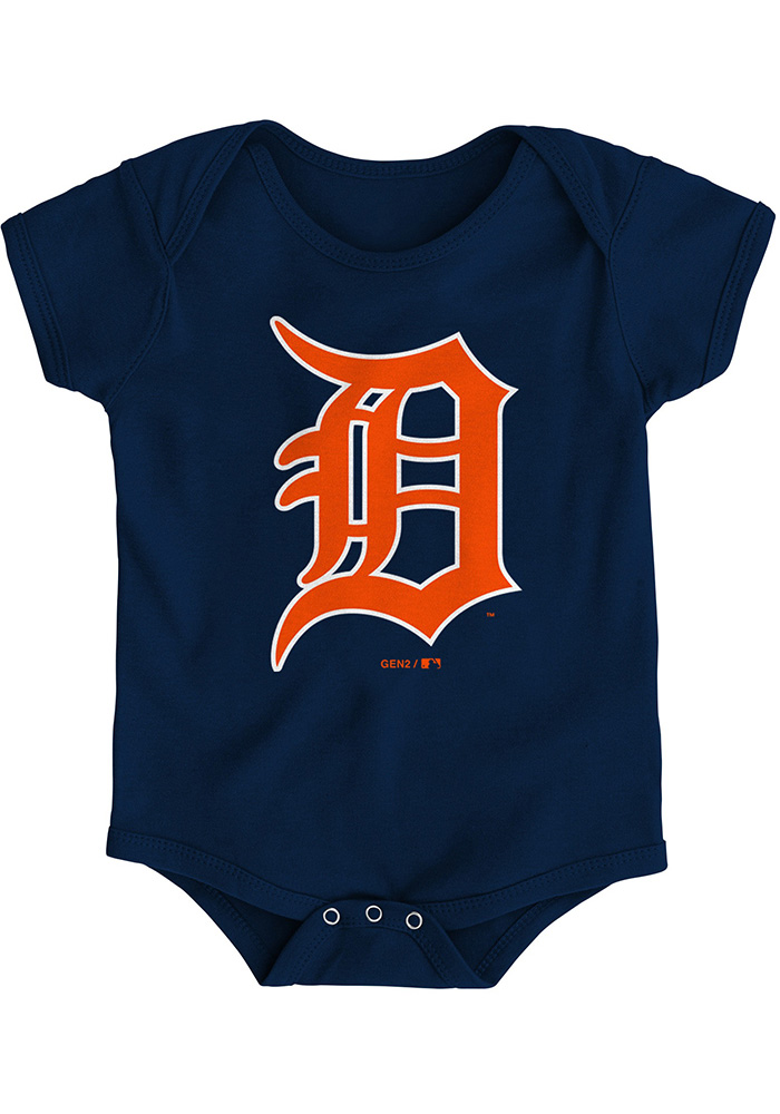 Detroit Tigers Baby Navy Blue Primary Short Sleeve One Piece - Image 1