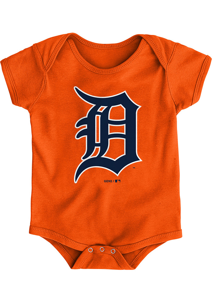 Detroit Tigers Baby Orange Primary Short Sleeve One Piece - Image 1