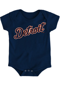 Detroit Tigers Baby Navy Blue Road Wordmark One Piece