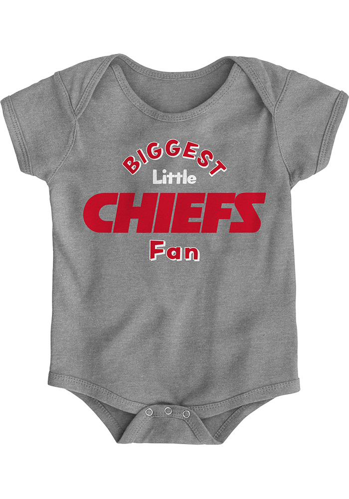 Kansas City Chiefs Baby Grey Biggest Little Fan Short Sleeve One Piece - Image 1