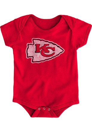 Kansas City Chiefs Baby Red Distressed Primary Creeper