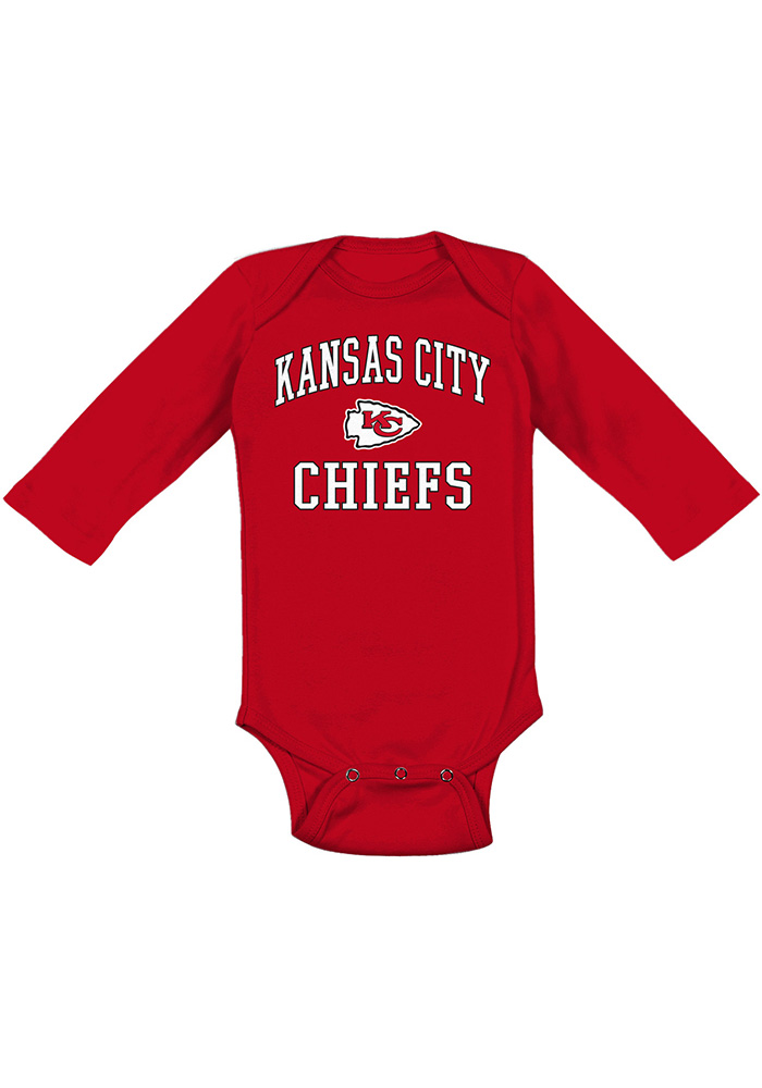 Kansas City Chiefs Baby Red #1 Design Long Sleeve One Piece - Image 1