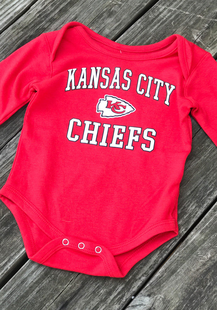 Kansas City Chiefs Baby Red #1 Design Long Sleeve One Piece - Image 2