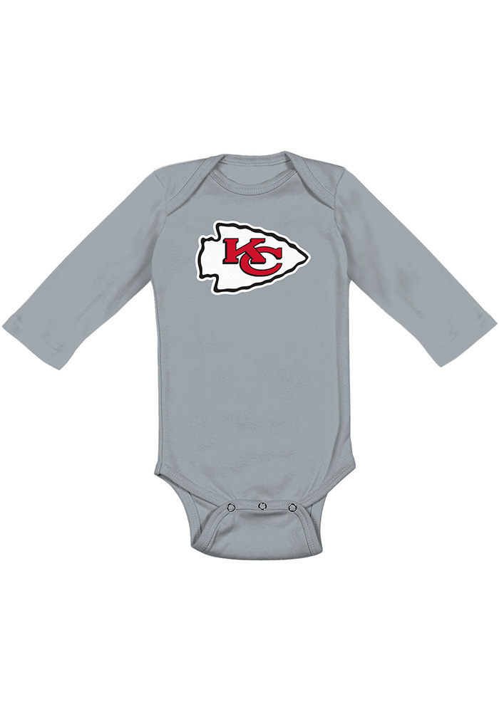 Kansas City Chiefs Baby Grey Distressed Primary Long Sleeve One Piece - Image 1