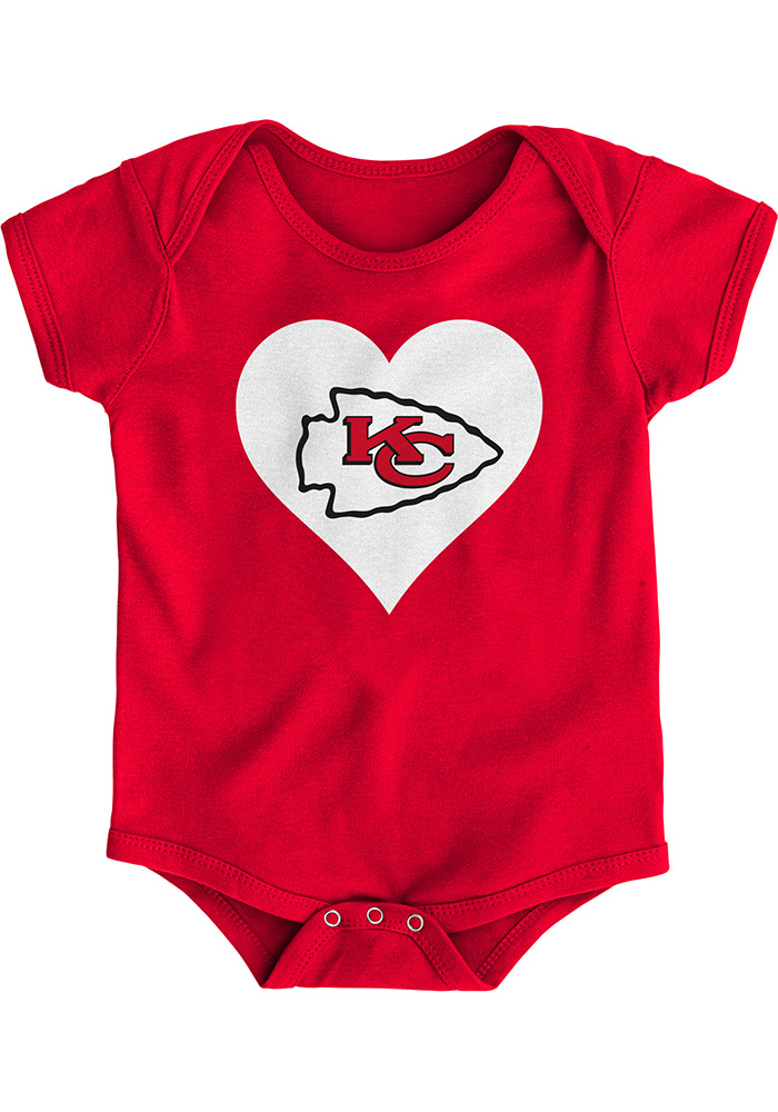 Kansas City Chiefs Baby Red Heart Short Sleeve One Piece - Image 1