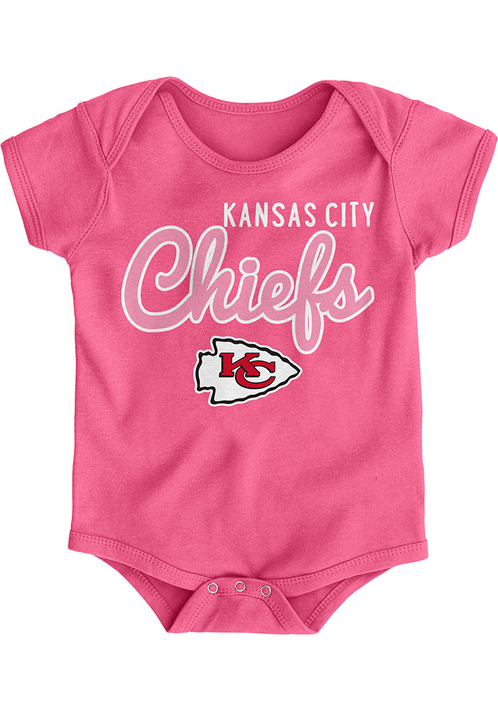 new style 10445 ce9c3 Kansas City Chiefs Baby Pink Big Game Short Sleeve One Piece