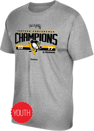 Pittsburgh Penguins Kids Grey 2017 Conference Champions T-Shirt