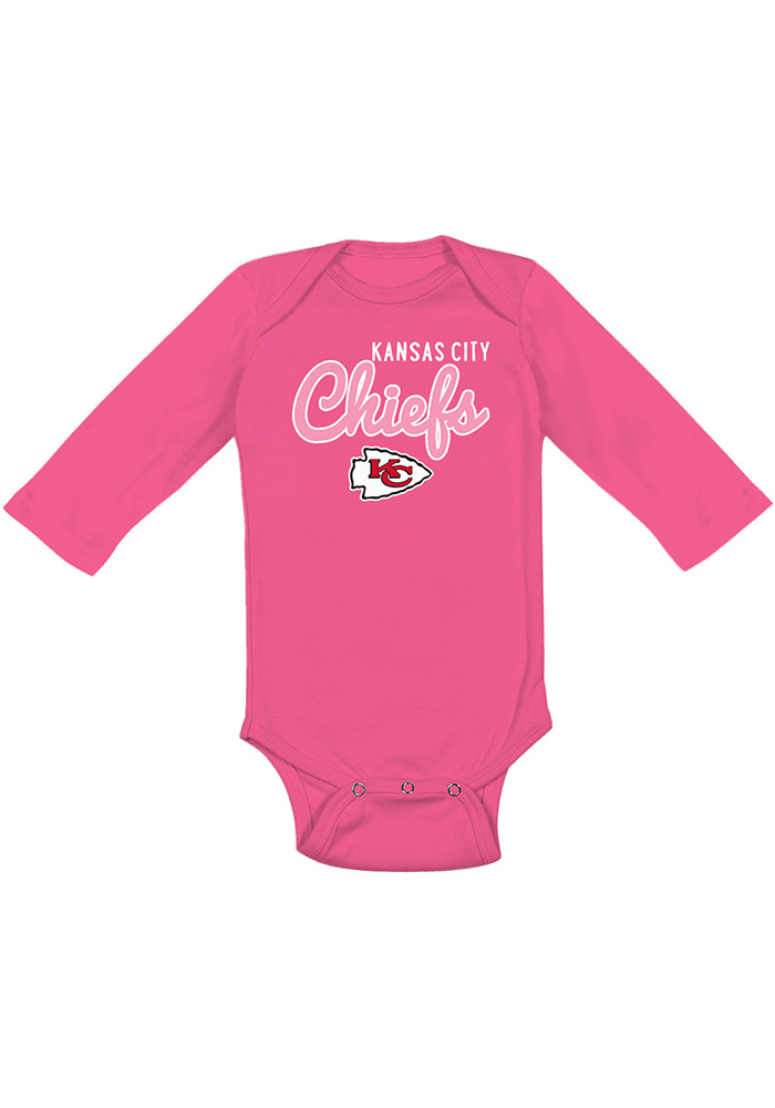 Kansas City Chiefs Baby Pink Big Game LS Tops LS One Piece - Image 1