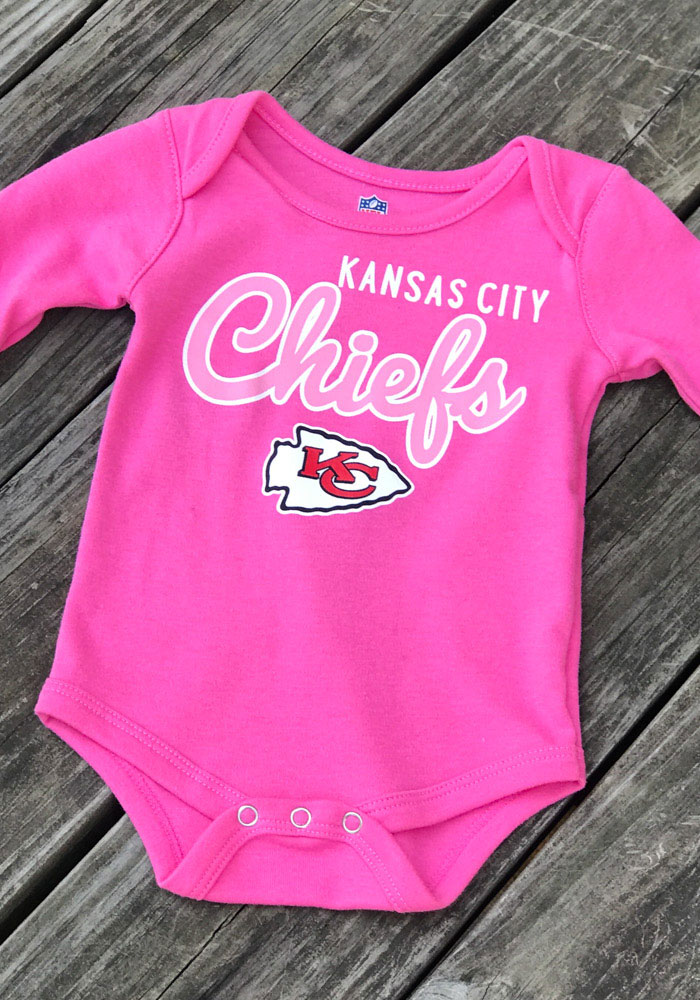 Kansas City Chiefs Baby Pink Big Game LS Tops LS One Piece - Image 2