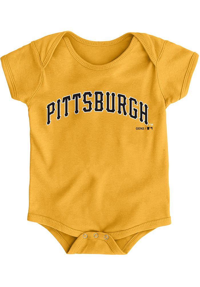 Pittsburgh Pirates Baby Gold Road Wordmark Short Sleeve One Piece - Image 1
