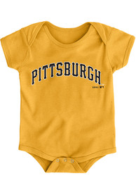 Pittsburgh Pirates Baby Gold Road Wordmark One Piece
