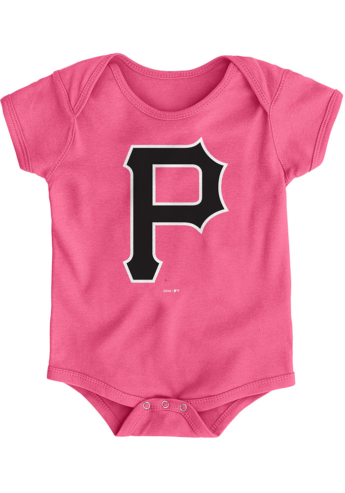 Pittsburgh Pirates Baby Pink Primary Short Sleeve One Piece - Image 1