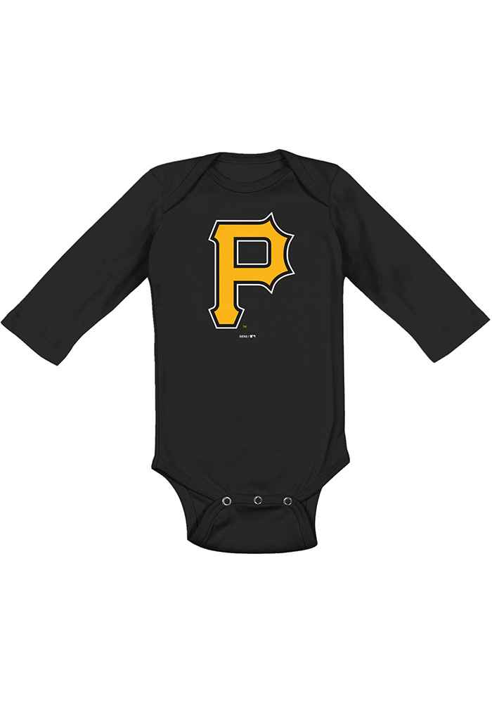 Pittsburgh Pirates Baby Black Primary Long Sleeve One Piece - Image 1