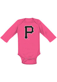Pittsburgh Pirates Baby Pink Primary LS One Piece