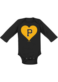 Pittsburgh Pirates Baby Black Heart LS One Piece