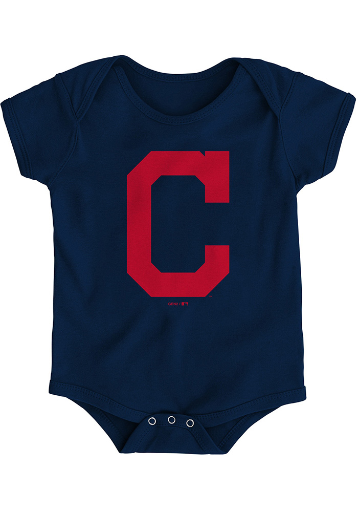 Cleveland Indians Baby Navy Blue Primary Short Sleeve One Piece - Image 1