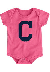 Cleveland Indians Baby Pink Primary One Piece