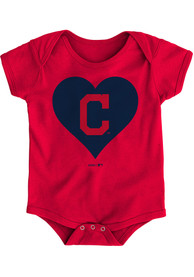 Cleveland Indians Baby Red Heart One Piece