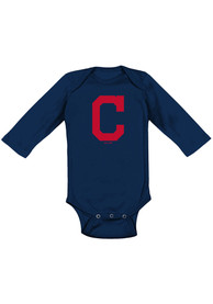 Cleveland Indians Baby Navy Blue Primary One Piece