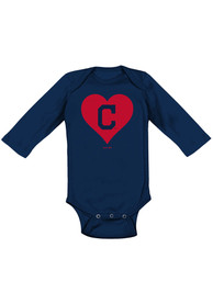 Cleveland Indians Baby Navy Blue Heart LS One Piece
