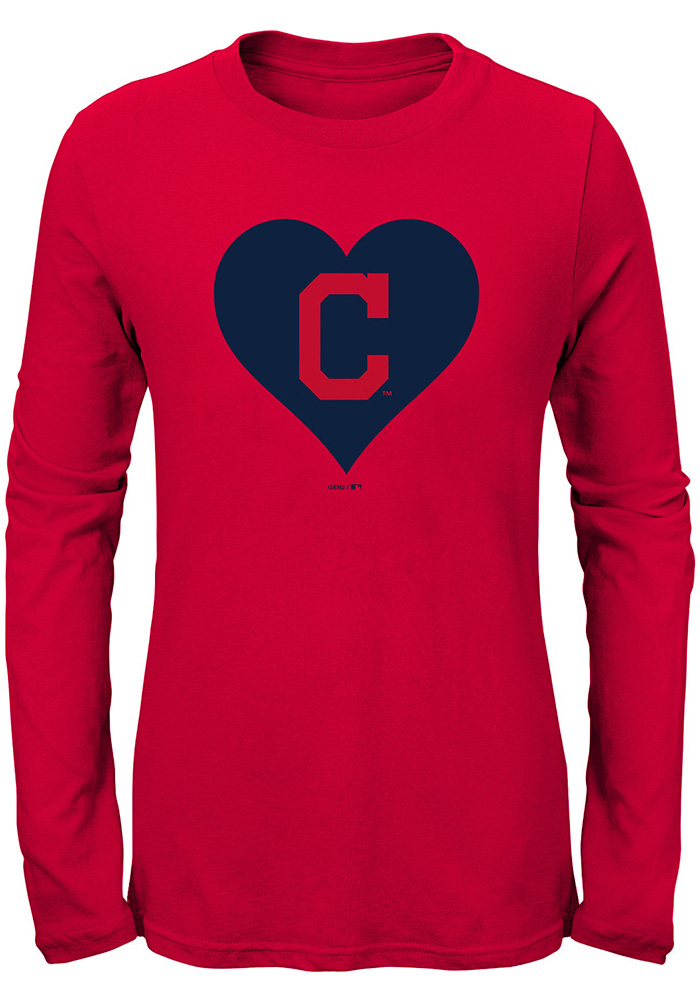 Cleveland Indians Girls Red Heart Long Sleeve T-Shirt - Image 1