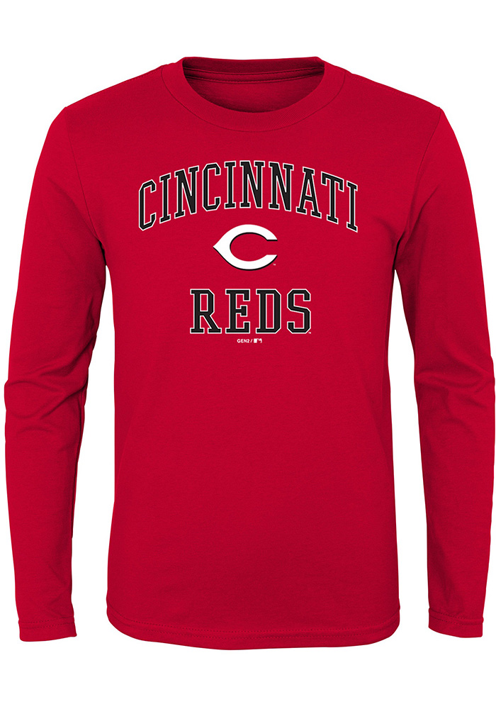 Cincinnati Reds Youth Red #1 Design Long Sleeve T-Shirt - Image 1