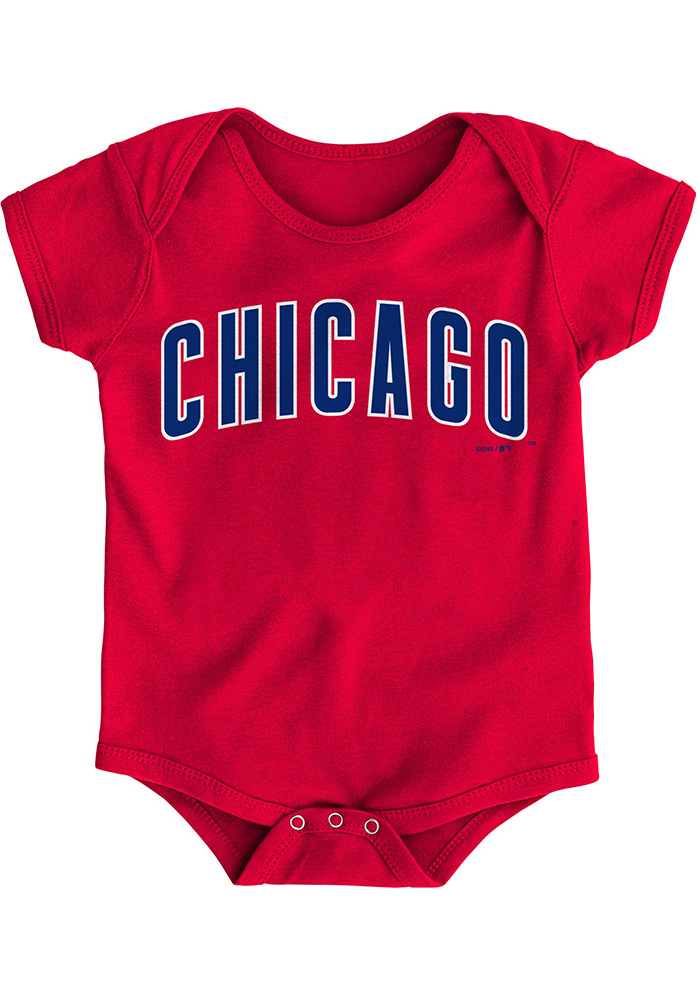 Chicago Cubs Baby Red Road Wordmark One Piece