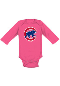 Chicago Cubs Baby Pink Secondary LS One Piece