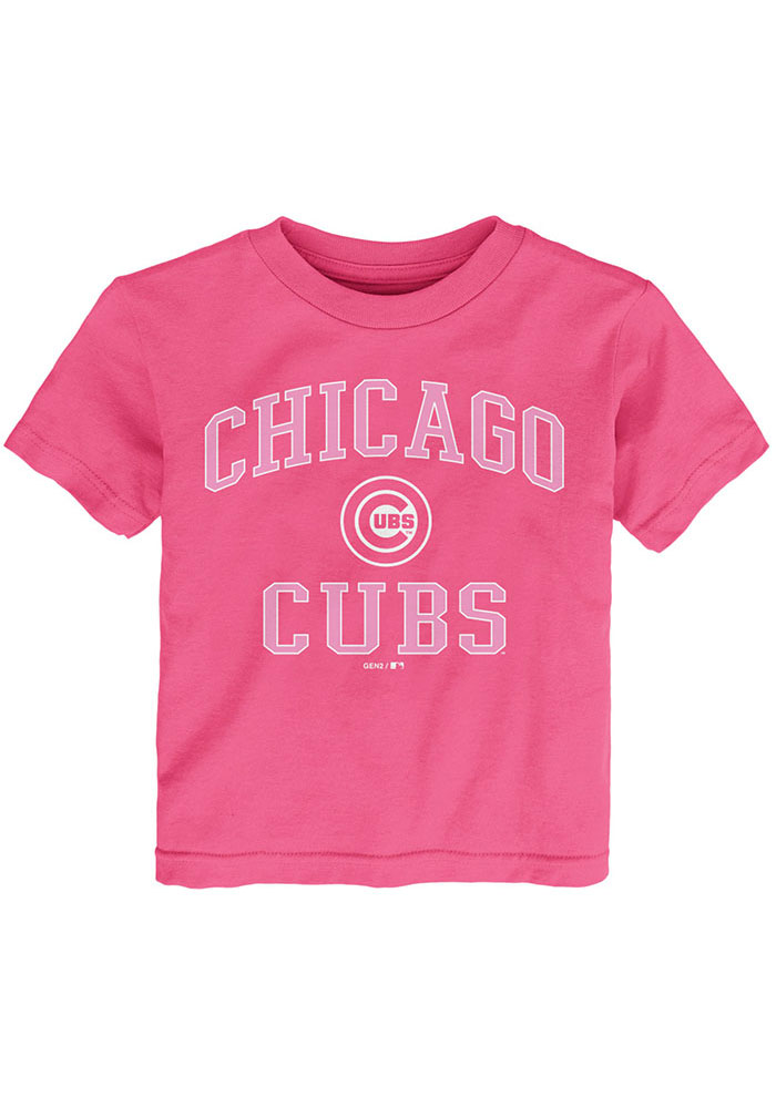 Chicago Cubs Toddler Girls Pink Primary Short Sleeve T-Shirt - Image 1