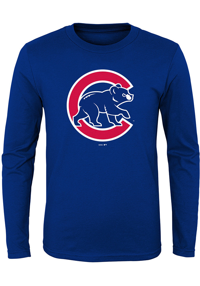 Chicago Cubs Boys Blue Secondary Long Sleeve T-Shirt - Image 1