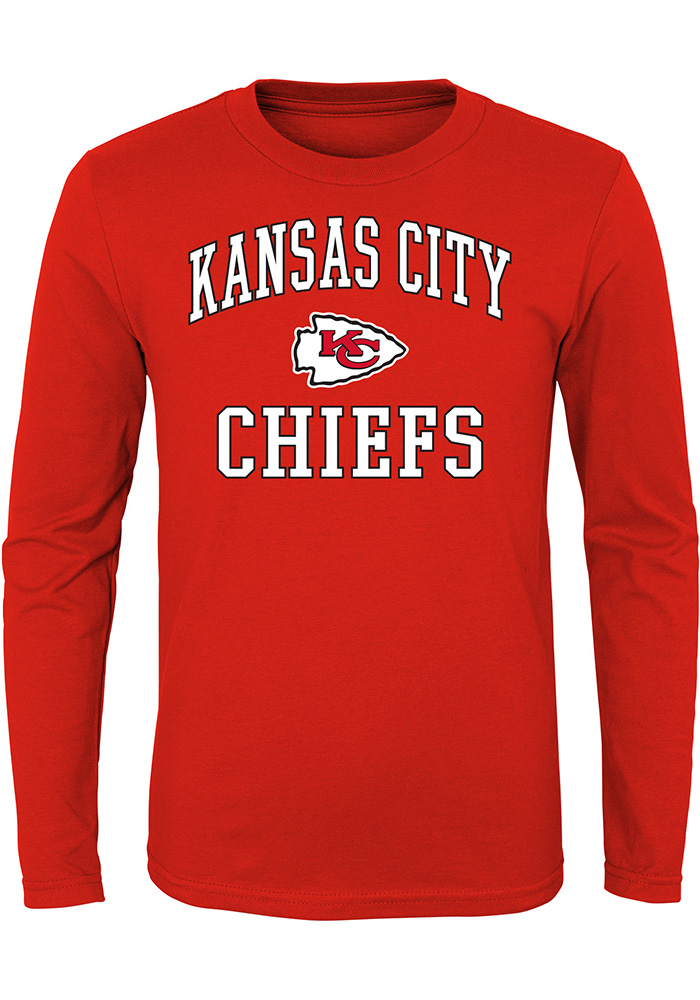 Kansas City Chiefs Youth Red #1 Design Long Sleeve T-Shirt - Image 1