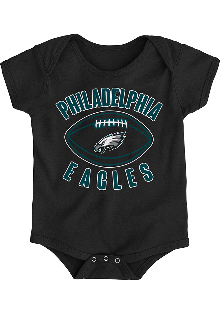 Philadelphia Eagles Baby Black Little Kicker Short Sleeve One Piece - Image 1