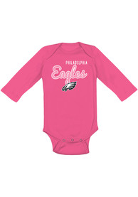 Philadelphia Eagles Baby Pink Big Game LS One Piece