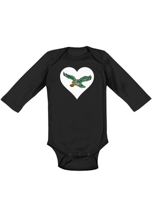 Philadelphia Eagles Baby Black Retro Heart LS One Piece