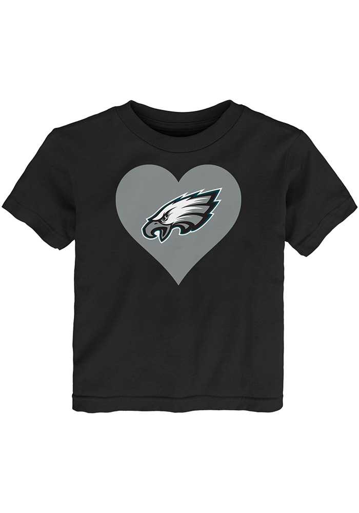 Philadelphia Eagles Toddler Girls Black Heart Short Sleeve T-Shirt - Image 1