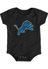 Detroit Lions Baby Black Distressed Primary One Piece