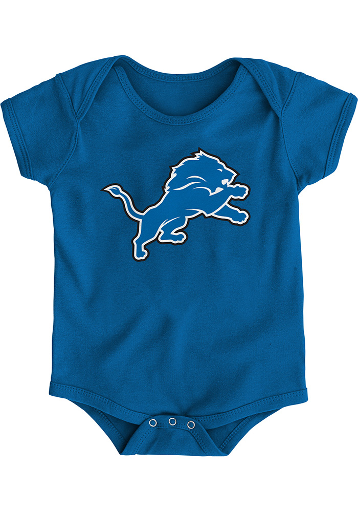 Detroit Lions Baby Blue Primary Logo Short Sleeve One Piece - Image 1