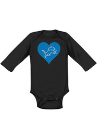 Detroit Lions Baby Black Heart LS One Piece