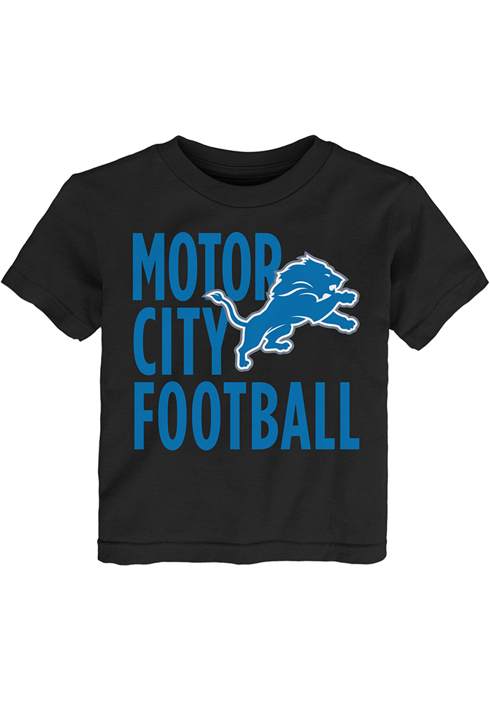 Detroit Lions Toddler Black Motor City Football Short Sleeve T-Shirt - Image 1